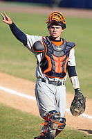 March 14, 2010:  Catcher B.J. LaRosa (28) of Bucknell University Bisons vs. UMBC in a game at Chain of Lakes Stadium in Winter Haven, FL.  Photo By Mike Janes/Four Seam Images