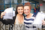 Katie Quirke and Samantha Moriarty from Tralee collecting their Junior Cert results at Mercy Mounthawk Secondary School, Tralee on Wednesday..