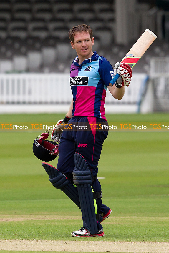 Eoin Morgan, Middlesex CCC acknowledges the crowd following his 49 ball century - Middlesex Panthers vs Lancashire Lightning - Clydesdale Bank CB40 Cricket at Lords Ground, London - 10/06/12 - MANDATORY CREDIT: Ray Lawrence/TGSPHOTO - Self billing applies where appropriate - 0845 094 6026 - contact@tgsphoto.co.uk - NO UNPAID USE.