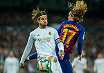 Real Madrid CF's Sergio Ramos and FC Barcelona's forwar Antoine Griezmann competes for the ball during La Liga match. Mar 01, 2020. (ALTERPHOTOS/Manu R.B.)