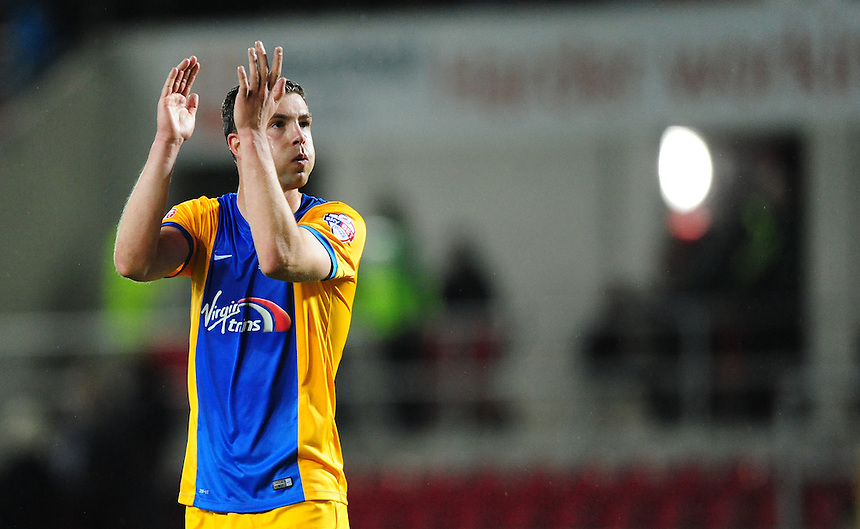 Preston North End's Paul Huntington applauds the fans at the end of the game<br /> <br /> Photographer Chris Vaughan/CameraSport<br /> <br /> Football - The Football League Sky Bet Championship - Rotherham United v Preston North End - Tuesday 18th August 2015 - New York Stadium - Rotherham<br /> <br /> &copy; CameraSport - 43 Linden Ave. Countesthorpe. Leicester. England. LE8 5PG - Tel: +44 (0) 116 277 4147 - admin@camerasport.com - www.camerasport.com