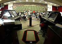 The band warms up before a practice session in their practice hall located inside Ohio Stadium Thursday, May 20, 2004 in Columbus, Ohio.