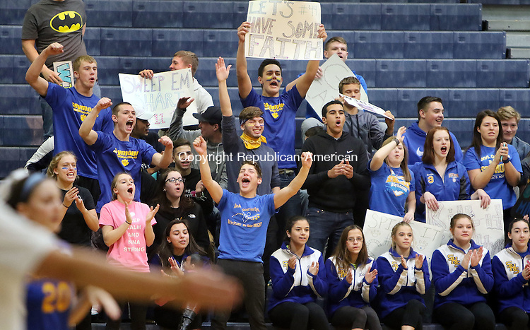 EAST HAVEN CT. 19 November 2016-111916SV09-Seymour High students and fans cheer their team on against Torrington High during the CIAC Class M Volleyball championship game at East Haven High in East Haven Saturday. Seymour won 3-0.<br /> Steven Valenti Republican-American