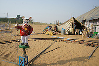 electric train for children in eintertainment parc at camel market time in Pushkar,Rajastan, India