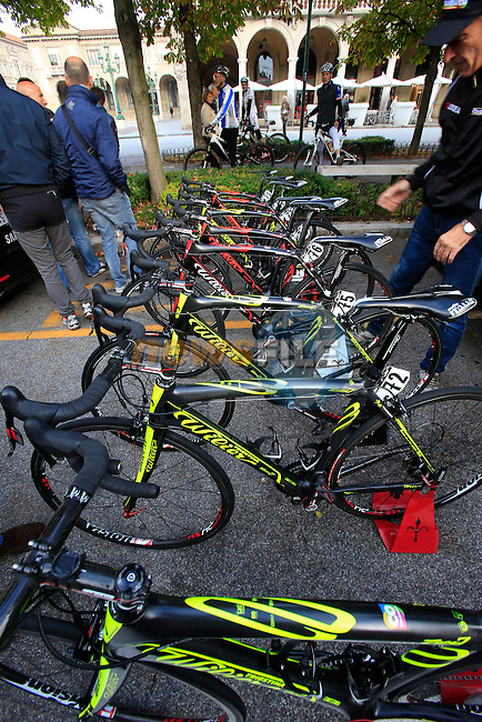 Colombia Team's Wilier bikes lined up before the start of the 107th edition 2013 Tour of Lombardy 242 Km starting in Bergamo and finishing in Lecco. 6th October 2013.<br /> (Photo: Eoin Clarke/www.newsfile.ie)