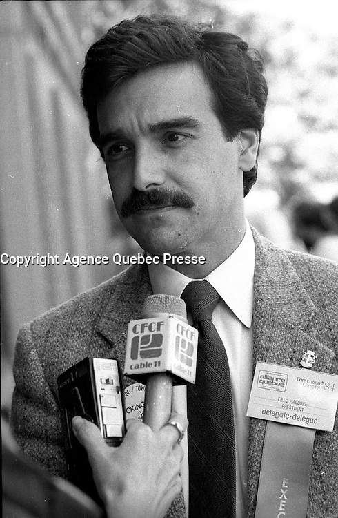 Eric Maldoff attend the Alliance Quebec Convention, June 2, 1984