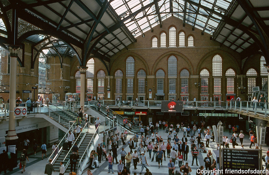 London:  Liverpool St. Station Interior, 1874-75.  Looking west.  Photo '05.