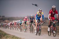 Preben Van Hecke (BEL/Sport Vlaanderen Baloise) rolling over the 'Plugstreets'<br /> <br /> 81st Gent-Wevelgem in Flanders Fields (1.UWT)<br /> Deinze > Wevelgem (251km)