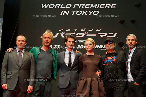 "June 13th, 2012 : Tokyo, Japan - Main casts of ""The Amazing Spider-Man"" appear at the World Premiere  for ?The Amazing Spider-Man"" by  Mark Webb held at the futuristic Roppongi Hills complex in downtown Tokyo, Japan. .It is the first of a new series of the Spider-Man films and will be released on June 30th in Japan. (Photo by Yumeto Yamazaki/AFLO)"