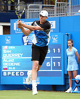 11.06.13 London, England. Sam Querrey (USA) who was playing Aljaz Bedene (SLO) during the The Aegon Championships from the The Queen's Club in West Kensington.