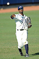 28 February 2010:  FIU's Pablo Bermudez (12) throws the ball back to the infield as the FIU Golden Panthers defeated the Oral Roberts Golden Eagles, 7-6 (10 innings), at University Park Stadium in Miami, Florida.