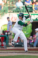 Fort Wayne TinCaps designated hitter Brad Zunica (35) at bat against the West Michigan Whitecaps on May 23, 2016 at Parkview Field in Fort Wayne, Indiana. The TinCaps defeated the Whitecaps 3-0. (Andrew Woolley/Four Seam Images)