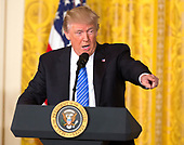 United States President Donald J. Trump speaks before signing the Department of Veterans Affairs Accountability and Whistleblower Protection Act of 2017 at The White House in Washington, DC, June 23, 2017. <br /> Credit: Chris Kleponis / CNP