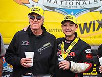 Oct 14, 2018; Concord, NC, USA; NHRA top fuel driver Steve Torrence celebrates with crew chief Richard Hogan after winning the Carolina Nationals at zMax Dragway. Mandatory Credit: Mark J. Rebilas-USA TODAY Sports