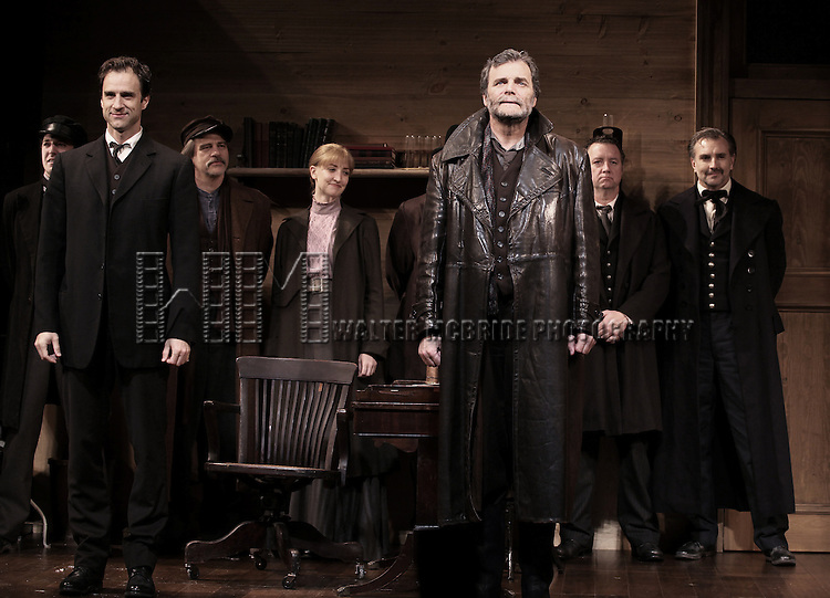 James Waterston and John Procaccino with ensemble cast during the Broadway Opening Night Performance Curtain Call for  'An Enemy of the People' at the Samuel J. Friedman Theatre in New York. Sept. 27, 2012