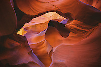 A swirl of colorful reflected light in a remote desert slot canyon.