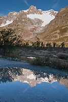 Mont Blanc reflected in the still waters of Lac Combal, Tour du Mont Blanc, September 2007