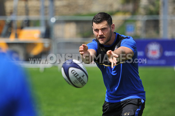 Jeff Williams in action during the passing clinic. Bath Rugby Family Festival of Rugby, on August 8, 2015 at the Recreation Ground in Bath, England. Photo by: Patrick Khachfe / Onside Images