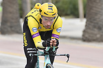 Primoz Roglic (SLO) Team Jumbo-Visma recons the course before the start of Stage 7 of the Race of the Two Seas, the 54th Tirreno-Adriatico 2019, an individual time trial running 10.1km around San Benedetto del Tronto, Italy. 19th March 2019.<br /> Picture: LaPresse/Fabio Ferrari | Cyclefile<br /> <br /> <br /> All photos usage must carry mandatory copyright credit (&copy; Cyclefile | LaPresse/Fabio Ferrari)