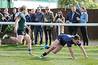 Jason Harries of London Scottish scores a try during the Greene King IPA Championship match between London Scottish Football Club and Nottingham Rugby at Richmond Athletic Ground, Richmond, United Kingdom on 15 April 2017. Photo by David Horn.