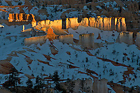 A low sun rakes across rock formations near sunset in Bryce Canyon National Park, Utah.