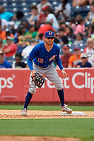 Durham Bulls first baseman Dalton Kelly (19) during an International League game against the Toledo Mud Hens on July 16, 2019 at Fifth Third Field in Toledo, Ohio.  Durham defeated Toledo 7-1.  (Mike Janes/Four Seam Images)