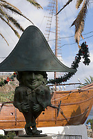Spain, Canary Islands, La Palma, Santa Cruz de La Palma: capital - midget statue (Enano) and Barco de la Virgen (Virgin's ship), copy of Christoph Columbus' Santa Maria