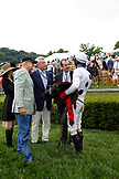 USA, Tennessee, Nashville, Iroquois Steeplechase, jockey Brian Crowley is congratulated by the owners of Arcadia after their win