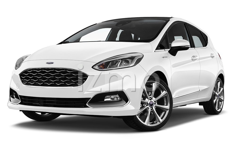 Stock pictures of low aggressive front three quarter view of a 2018 Ford Fiesta Vignale Base 5 Door Hatchback