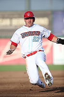 Mike Trout (27) of the Los Angeles Angels slides into third base during a rehab game for the Inland Empire 66ers against the Rancho Cucamonga Quakes at San Manuel Stadium on July 9, 2017 in San Bernardino, California. Inland Empire defeated Rancho Cucamonga 12-2. (Larry Goren/Four Seam Images)