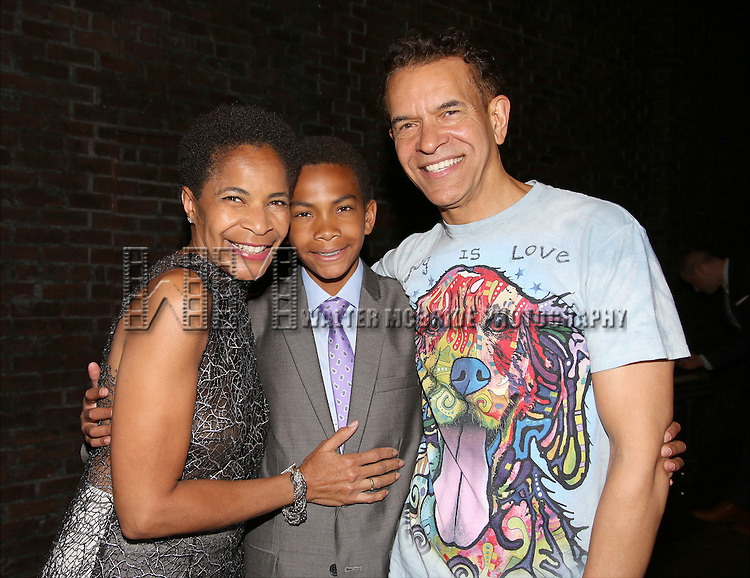 Allyson Stokes Mitchell, Ellington Stokes Mitchell and Brian Stokes Mitchell during the Actors' Equity Opening Night Gypsy Robe Ceremony honoring Arbender Robinson for 'Shuffle Along' at The Music Box Theatre on April 28, 2016 in New York City.