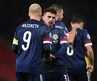 19th November 2019; Hampden Park, Glasgow, Scotland; European Championships 2020 Qualifier, Scotland versus Kazakhstan; Steven Naismith of Scotland celebrates with Greg Taylor of Scotland after he puts Scotland into the lead, making it 2-1 in the 64th minute - Editorial Use