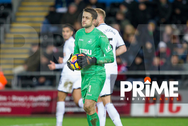 Lukasz Fabianski of Swansea City during the EPL - Premier League match between Swansea City and Manchester City at the Liberty Stadium, Swansea, Wales on 13 December 2017. Photo by Mark  Hawkins / PRiME Media Images.