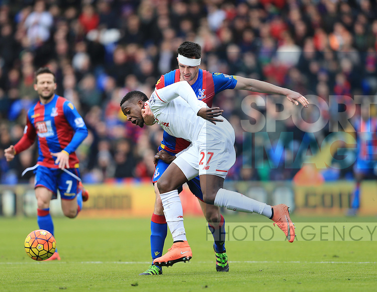 Crystal Palace's Scott Dann tussles with Liverpool's Divock Origi<br /> <br /> - English Premier League - Crystal Palace vs Liverpool  - Selhurst Park - London - England - 6th March 2016 - Pic David Klein/Sportimage