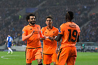 Liverpool's Sadio Mane celebrates scoring his side's third goal with team mates Mohamed Salah and Roberto Firmino <br /> <br /> Photographer Craig Mercer/CameraSport<br /> <br /> UEFA Champions League Round of 16 First Leg - FC Porto v Liverpool - Wednesday 14th February 201 - Estadio do Dragao - Porto<br />  <br /> World Copyright &copy; 2018 CameraSport. All rights reserved. 43 Linden Ave. Countesthorpe. Leicester. England. LE8 5PG - Tel: +44 (0) 116 277 4147 - admin@camerasport.com - www.camerasport.com