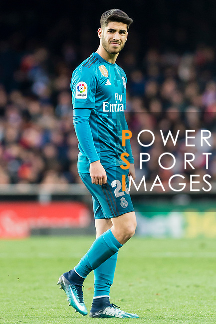 Marco Asensio Willemsen of Real Madrid reacts during the La Liga 2017-18 match between Valencia CF and Real Madrid at Estadio de Mestalla  on 27 January 2018 in Valencia, Spain. Photo by Maria Jose Segovia Carmona / Power Sport Images