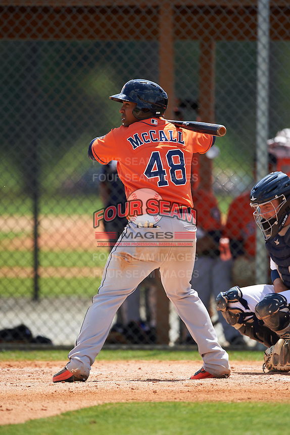Houston Astros Dexture McCall (48) during a minor league Spring Training game against the Detroit Tigers on March 30, 2016 at Tigertown in Lakeland, Florida.  (Mike Janes/Four Seam Images)