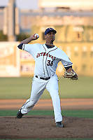 Yeyfry Del Rosario (38) of the Lancaster JetHawks pitches against the Stockton Ports at The Hanger on May 26, 2016 in Lancaster, California. Stockton defeated Lancaster, 16-7. (Larry Goren/Four Seam Images)