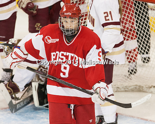 Sarah Lefort (BU - 9) -  The Boston College Eagles defeated the visiting Boston University Terriers 5-0 on BC's senior night on Thursday, February 19, 2015, at Kelley Rink in Conte Forum in Chestnut Hill, Massachusetts.