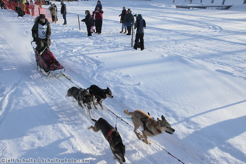 Saturday February 25, 2012   at Knik Lake during the Junior Iditarod start.  Mattie Cobb