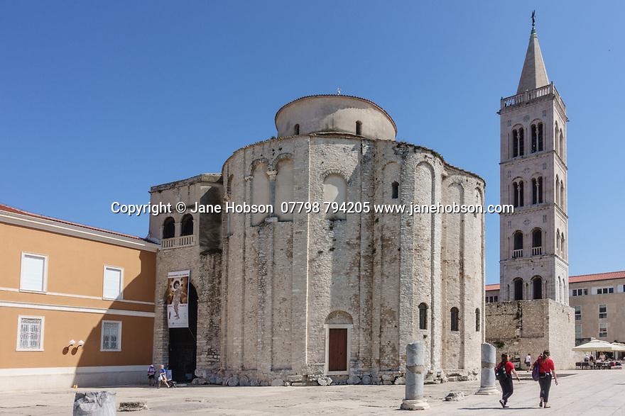 Zadar, Croatia. 26.05.2018. St Donat's and the bell tower of St Anastasia, The Forum, Zadar, Croatia. Photograph © Jane Hobson.