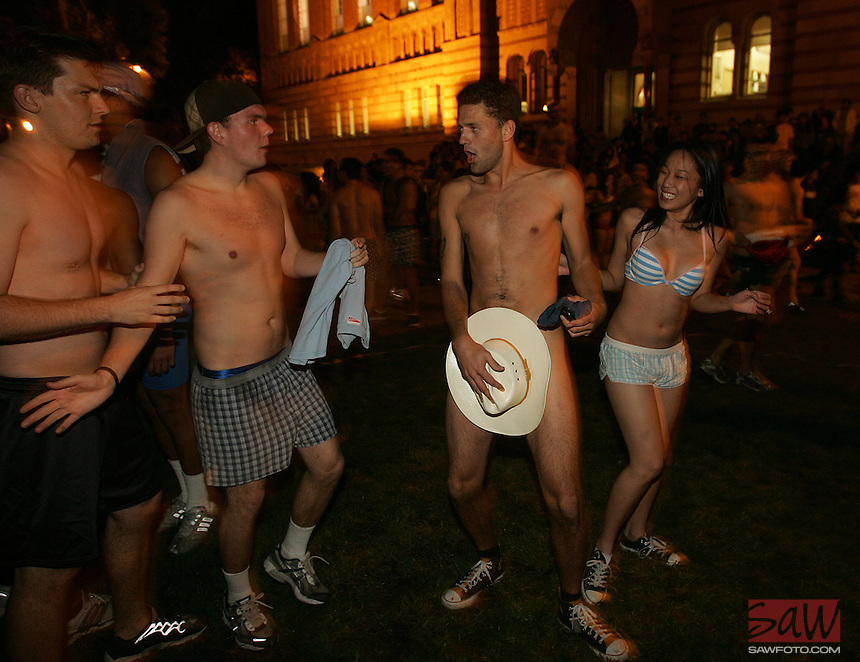 All styles of underwear, including cowboy hats were worn by UCLA students who participated in the The Undie Run. Students lingered along Bruin Walk after the midnight run Wednesday, December 13, 2006.