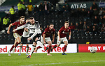 Wayne Rooney of Derby County scores the fourth goal from the penalty spot during the FA Cup match at the Pride Park Stadium, Derby. Picture date: 4th February 2020. Picture credit should read: Darren Staples/Sportimage