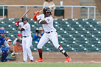 Salt River Rafters right fielder Monte Harrison (4), of the Miami Marlins organization, at bat during an Arizona Fall League game against the Surprise Saguaros at Salt River Fields at Talking Stick on October 23, 2018 in Scottsdale, Arizona. Salt River defeated Surprise 7-5 . (Zachary Lucy/Four Seam Images)