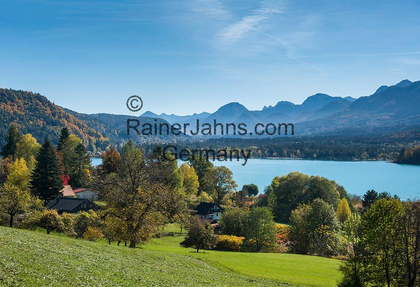 Oesterreich, Kaernten, Drobollach am Faaker See: Blick ueber den Faaker See in die Karawanken   Austria, Carinthia, Drobollach at Lake Faak: view across Lake Faak towards Karawanks mountains