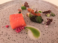 First course of salmon trout, cauliflower and Prunier Paris caviar at Ecco St Moritz. Photo Sydney Low