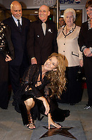 September 26. 2002, Montreal, Quebec, Canada; <br /> <br /> Celine Dion, her husband Rene Angelil   and her parents unveil her Bronze Star at the Pepsi Forum's Walk of Fame, September 26 2002, Montreal, CANADA.