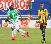 FLORIDABLANCA -COLOMBIA, 03-08-2014.  Orlando Berrio (#28) de Atlético Nacional celebra un gol anotado a Alianza Petrolera durante encuentro por la fecha 3 de la Liga Postobon II 2014 disputado en el estadio Alvaro Gómez Hurtado de la ciudad de Floridablanca./ Orlando Berrio (#28) player of Atletico Nacional celebrates a goal scored to Alianza Petrolera during match for the 3th date of the Postobon League II 2014 played at Alvaro Gomez Hurtado stadium in Floridablanca city Photo: VizzorImage / Duncan Bustamante / STR