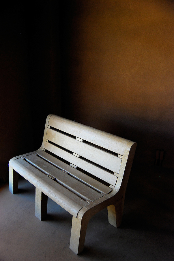 Lonely bench inside visitor center at Great Sand Dunes National Park and Preserve, Colorado, USA.