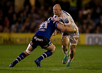 Exeter Chiefs' Matt Kvesic is tackled by Bath Rugby's Dave Attwood<br /> <br /> Photographer Bob Bradford/CameraSport<br /> <br /> Gallagher Premiership - Bath Rugby v Exeter Chiefs - Friday 5th October 2018 - The Recreation Ground - Bath<br /> <br /> World Copyright &copy; 2018 CameraSport. All rights reserved. 43 Linden Ave. Countesthorpe. Leicester. England. LE8 5PG - Tel: +44 (0) 116 277 4147 - admin@camerasport.com - www.camerasport.com